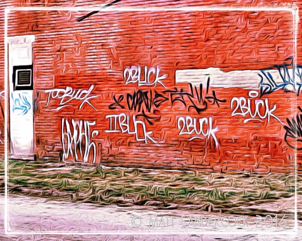 project 366, sign, iColorama, graffiti, 2 Buck, Smoketown, Louisville, Kentucky, red brick